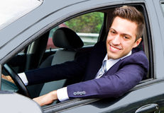Guy driving his car Royalty Free Stock Photo