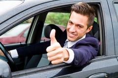 Guy driving his car Stock Photos