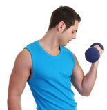 A guy with a dumbell Stock Photo