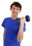 Guy with a dumbell Royalty Free Stock Photo