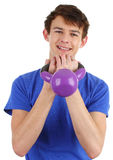 Guy with a dumbell Stock Photo