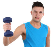 Guy with a dumbell Stock Images