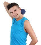 Guy with dumbell Stock Photo