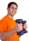 Guy with dumbells Royalty Free Stock Photo