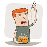 Guy eating noodles Royalty Free Stock Photos