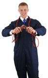 Guy with electrical cables Royalty Free Stock Photography