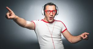 Guy enjoying in music Stock Photos