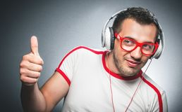 Guy enjoying in music Stock Image