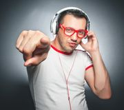 Guy enjoying in music Royalty Free Stock Photos