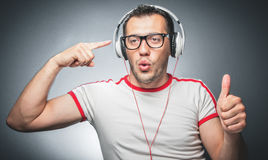 Guy enjoying in music Stock Photography