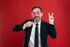 Guy enjoying party carnival. Holiday party celebration. Having fun. Office party corporate. Join carnival. Man formal. Suit wear fake glasses accessory stock image