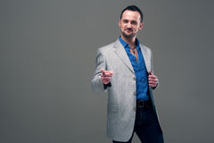 Guy in everyday jacket and jeans Royalty Free Stock Photos