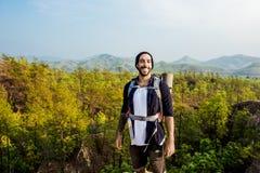 Guy Exploring Freedom Outdoors Concept stock fotografie