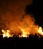 Guy Fawkes Bonfire. A traditional bonfire on Guy Fawkes night (5th November) in the UK stock image