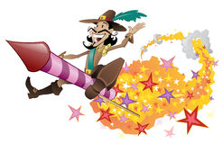 Guy Fawkes flying on a firework rocket. Stock Photography