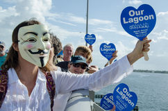 Guy Fawkes Hands Across die Lagune stockbild