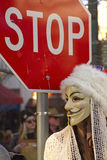 Guy Fawkes Mask By Stop Sign Stock Photo