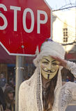 Guy Fawkes Mask, Stop Sign and Salute Royalty Free Stock Photos