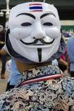 Guy Fawkes-Maske mit thailändischer Flagge Stockfotografie