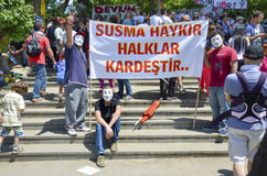 Guy Fawkes masked demonstrators with placards seen in Gezi Park. Royalty Free Stock Photos