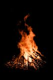 Guy Fawkes Night bonfire burning at night Royalty Free Stock Photography