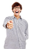 Guy with finger pointing at you Stock Images