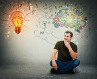 Guy on the floor idea concept, positive thinking stock image