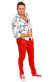 Guy in floral shirt Royalty Free Stock Images