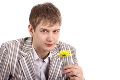 Guy with flower Royalty Free Stock Photo