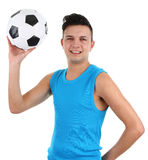 Guy with a football Stock Photo