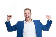Guy formal clothes shouting and celebrating success. Businessman happy emotional face excited about success. Successful. Project concept. Entrepreneur satisfied Stock Photos