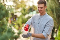 Guy gardener sprays water on plants in the beautiful nursery-garden on a sunny day. Work in the gardener royalty free stock photo