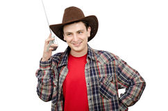 Guy getting funny cowboy wave Royalty Free Stock Images
