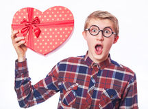 Guy with gift. Stock Images