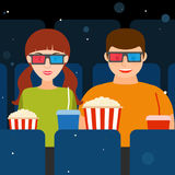 Guy and a girl at the cinema in 3D glasses with popcorn and drin. Couple, a guy and a girl at the cinema in 3D glasses with popcorn and drinks. Vector Stock Photography