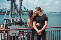Guy and girl in the docks Royalty Free Stock Photo