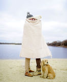 Guy, girl and dog royalty free stock photos