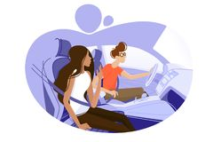 Guy and girl driving in car. Travel by automobile. Vector illustration Royalty Free Stock Photo