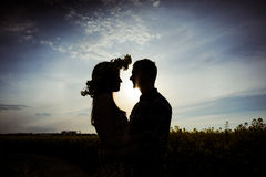 The guy and the girl. Embrace on a meadow on sunset Stock Photography