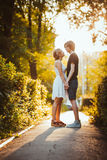 Guy and the girl embracing on a background of park Royalty Free Stock Photo