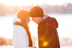 Guy and the girl enjoy winter walk. Young pair walks in wood, winter Stock Image