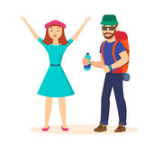 Guy and girl in a family traveling on new place. Stock Photos