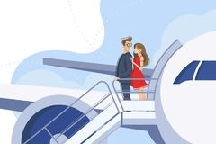 Guy and girl go downstairs from plane Royalty Free Stock Images
