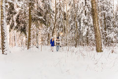 The guy and the girl have a rest in the winter woods. Stock Photos