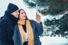 The guy and the girl have a rest in the winter woods. Husband and wife in the snow. Young couple walking in winter park. Royalty Free Stock Images
