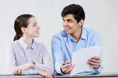 Guy and girl having dialogue Royalty Free Stock Images