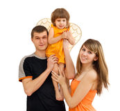 The guy the girl hold the child Stock Photos