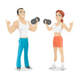 Guy and girl hold in dumbbell hand Stock Images