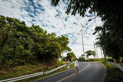 Loving couple holding hands and walking along the road royalty free stock photos