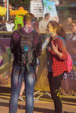 The guy with the girl in holy city of Cheboksary, Chuvash Republic, Russia at the festival of colors. 06/01/2016 Stock Photos